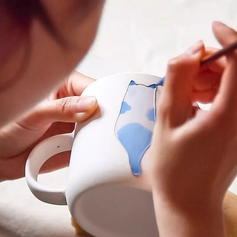 新品推荐-创意手绘可爱猫咪陶瓷茶杯