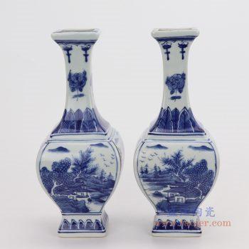 RYUK35/ RYUK36/RYUK37 景德镇陶瓷 青花山水人物花鸟四方花瓶