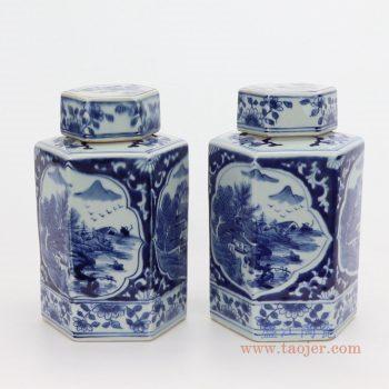 RYUK38 景德镇陶瓷 青花山水楼台四方茶叶罐