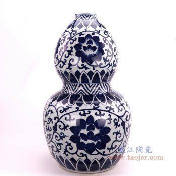 RZFQ30 景德镇陶瓷 仿古做旧青花缠枝莲裂纹釉葫芦瓶