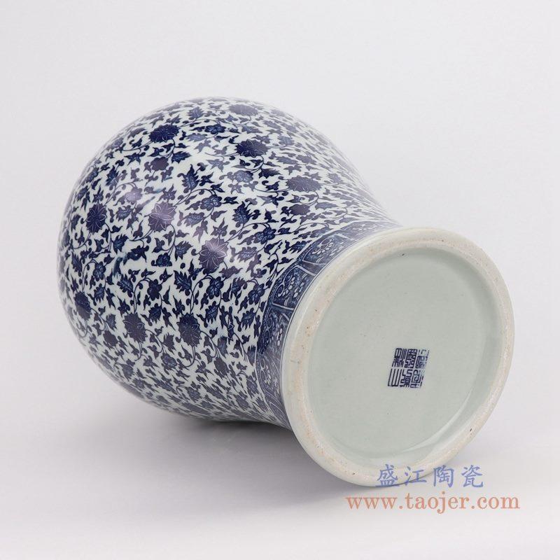 RZFU18-RZQH 盛江陶瓷大清乾隆青花缠枝莲纹梅瓶