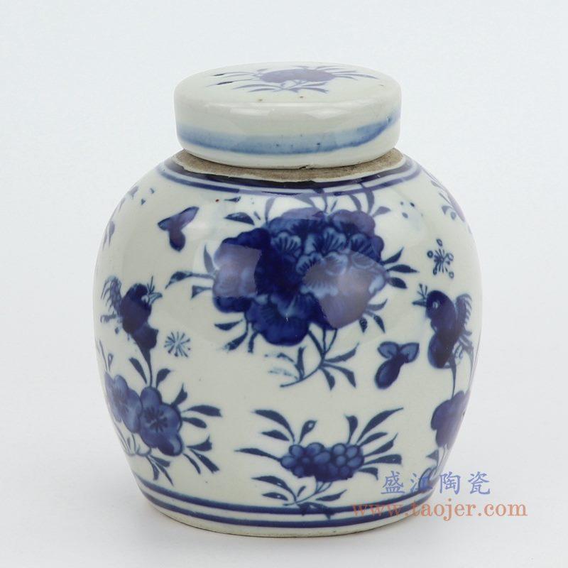 RZGC10-F 盛江陶瓷 仿古做旧青花花卉茶叶罐