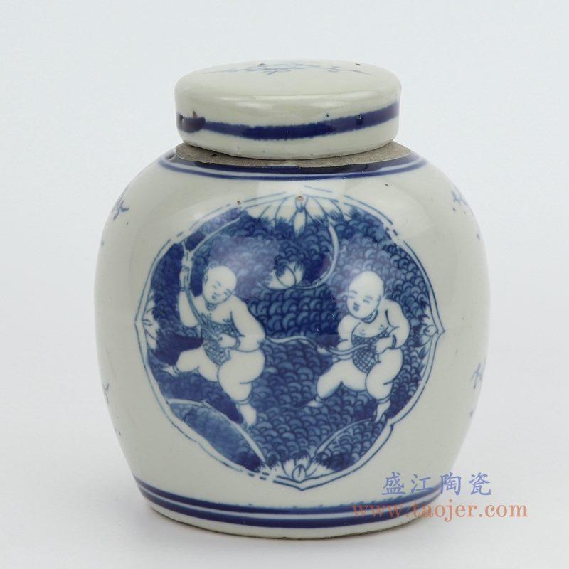 RZGC10-G 盛江陶瓷 仿古做旧童子摘桃茶叶罐