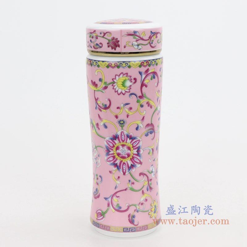 RZNR02-A 盛江陶瓷 双层陶瓷保温镂空杯浮雕色釉男女办公杯