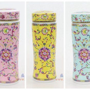 RZNR02-A-B-C 景德镇陶瓷 双层陶瓷保温杯镂空杯浮雕色釉男女办公杯