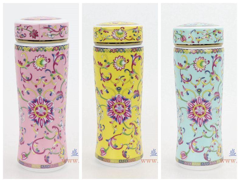 RZNR02-A-B-C 盛江陶瓷 景德镇双层陶瓷保温镂空杯浮雕色釉男女办公杯