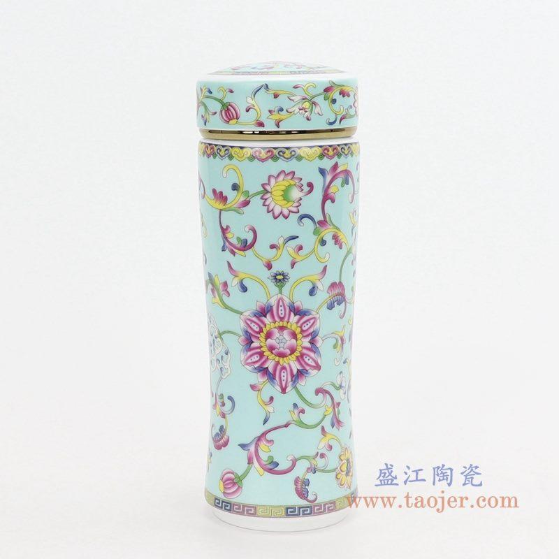 RZNR02-C 盛江陶瓷 双层陶瓷保温镂空杯浮雕色釉男女办公杯