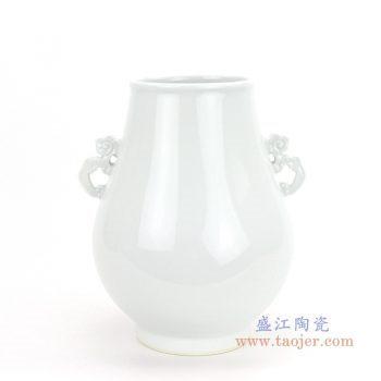 RZQL01 景德镇陶瓷 清乾隆青釉留白花纹象鼻尊福筒手工老货文房瓷器中式摆件