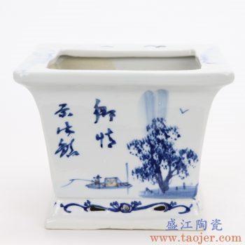 RZQM01_5039 景德镇陶瓷 青花风景人物四方花盆