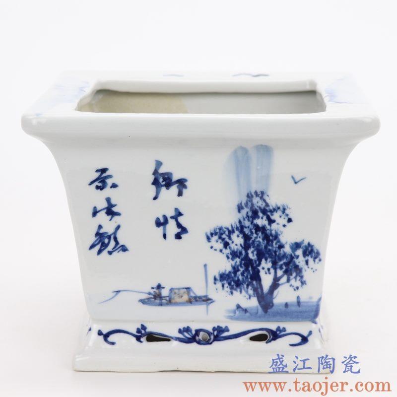 RZQM01 盛江陶瓷 青花风景人物四方花盆
