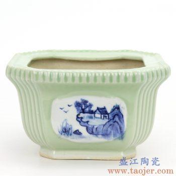 RZQM02 景德镇陶瓷 青花影青四方花盆