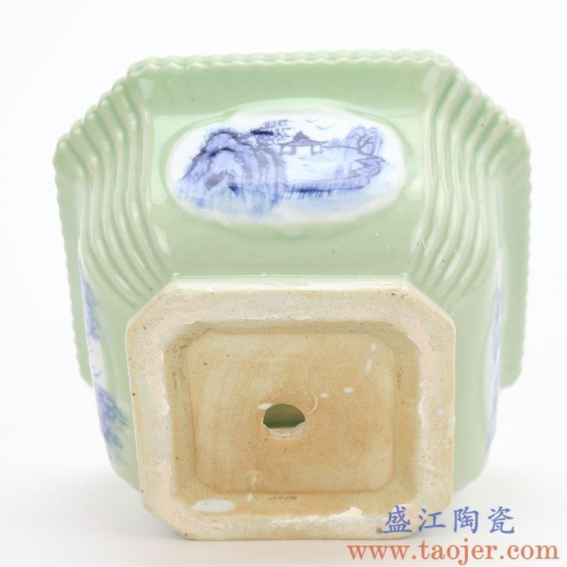RZQM02 盛江陶瓷 青花影青四方花盆