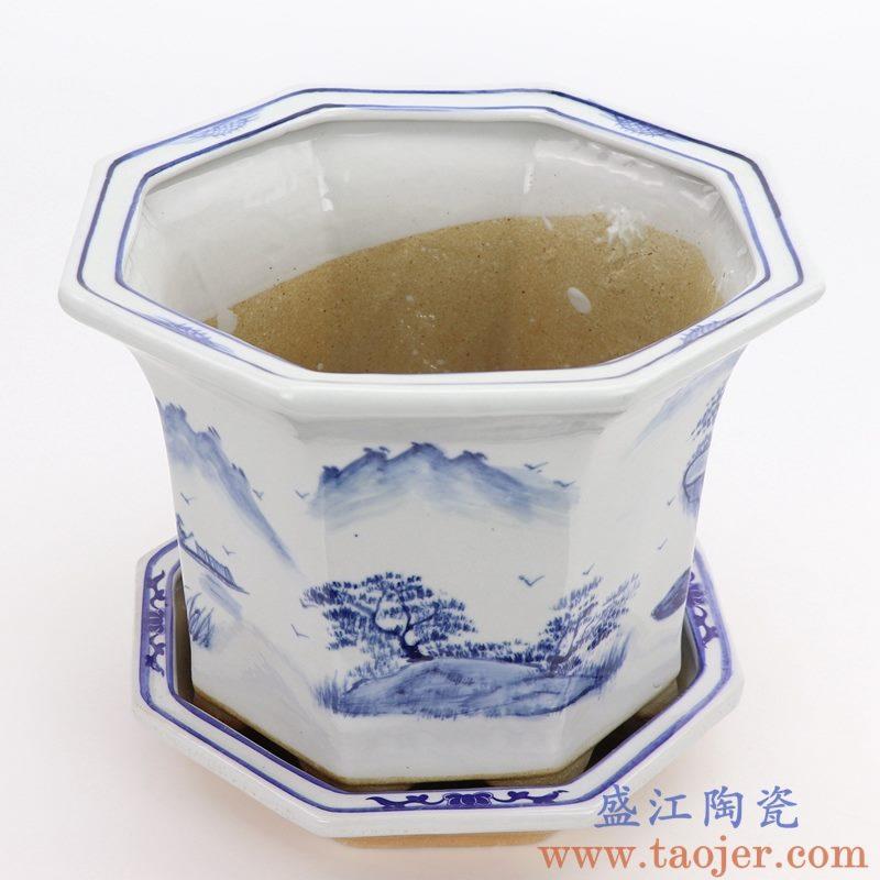 RZQM04-A 盛江陶瓷 手绘青花山水中式六方花盆