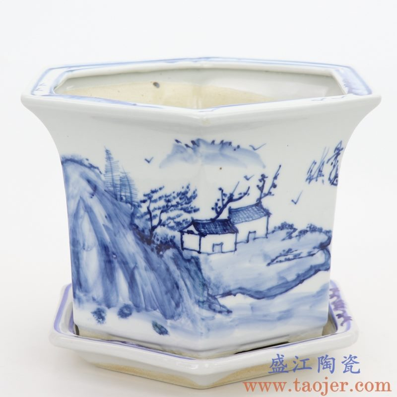 RZQM04-B 盛江陶瓷 手绘青花山水中式六方花盆