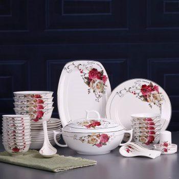 ZPK297 景德镇陶瓷 新款韩式骨瓷餐具套装景德镇陶瓷碗筷高档皇庭花送人礼品瓷器套装