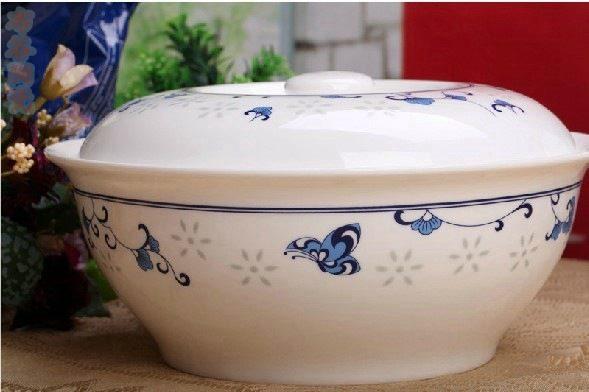 CJ44 景德镇陶瓷 餐具56头蝶恋花高档青花玲珑骨瓷套装盘碗碟