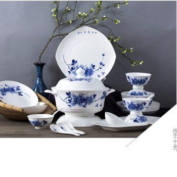 ZPK278 景德镇陶瓷58头骨瓷餐具套装纯手工绘画 中式手绘陶瓷餐具58头手绘牡丹