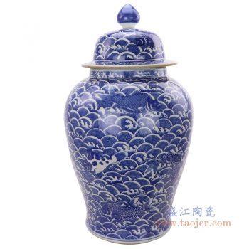RYLU184 景德镇陶瓷 手绘青花海水纹将军罐茶叶盖罐