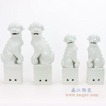 RZGB05-C-D 景德镇陶瓷 纯手工 雕塑瓷 白色眼睛 带底座狮子狗 一对 组合图