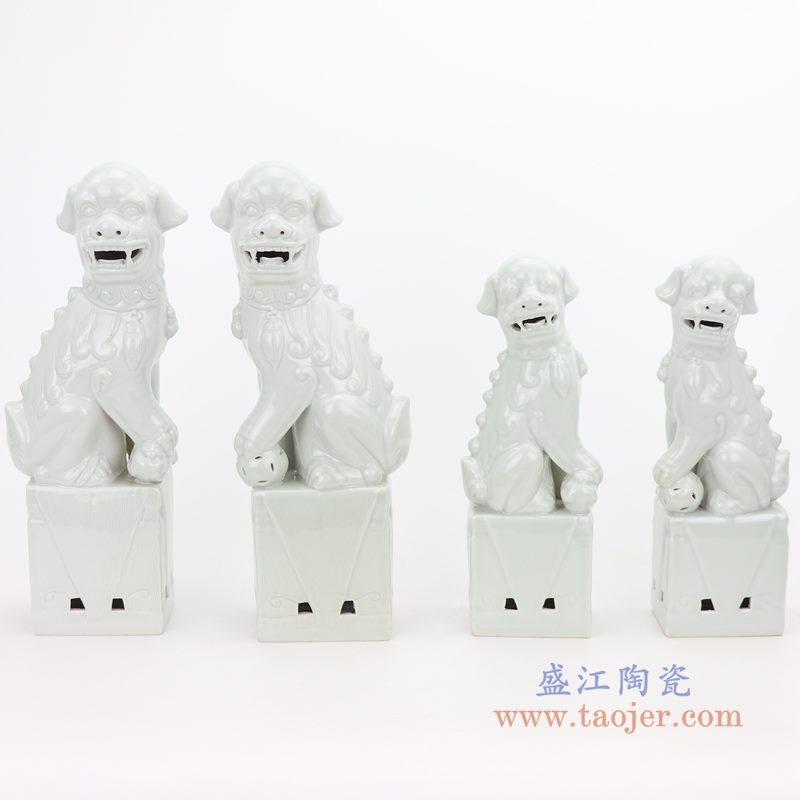 RZGB05-C-D 盛江陶瓷 纯手工 雕塑瓷 白色眼睛 带底座狮子狗 一对 组合图