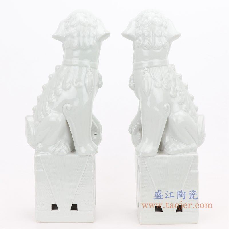 RZGB05-C 盛江陶瓷 纯手工 雕塑瓷 白色眼睛 带底座狮子狗 一对