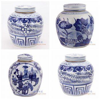 RZKT04-U-V-I 景德镇陶瓷 仿古做旧青花缠枝莲茶叶罐