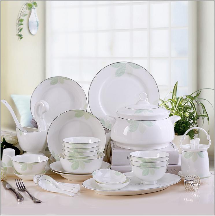 PUKOO-205 景德镇陶瓷 简约骨瓷餐具碗碟58头绿野仙棕套装
