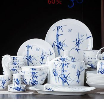 ZPK285 景德镇陶瓷 碗碟盘青花餐具手绘竹报平安桂鱼山水60头陶瓷餐具套装