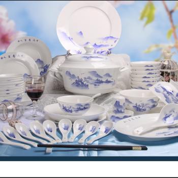 ZPK-264 景德镇陶瓷 骨瓷餐具纯手绘56头青花山水碗碟套装中式家用碗盘子