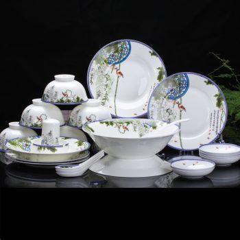 ZPK-227 景德镇陶瓷 碗盘餐具套装中式家用碗碟釉中彩餐具高档56头春色满园