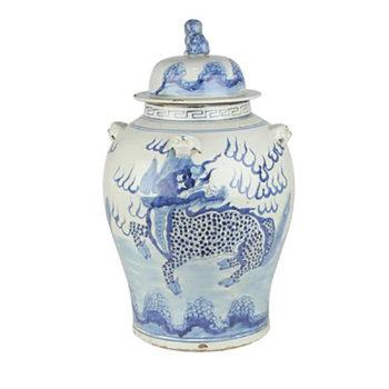 RZMV34-E 景德镇陶瓷 仿古做旧麒麟狮子纹将军罐