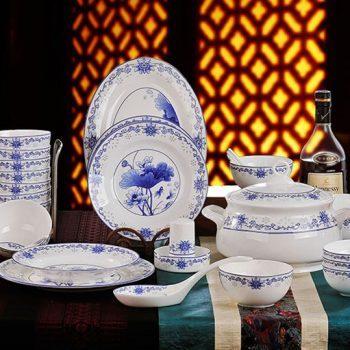 ZPK-251 景德镇陶瓷 56头骨瓷餐具套装碗盘碟 青花瓷碗套装青花玲珑荷花
