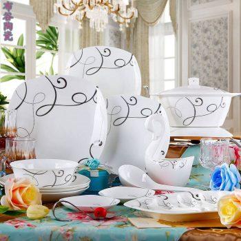 CJ50金色线条图纹骨瓷餐具套装 56头景德镇骨瓷餐具