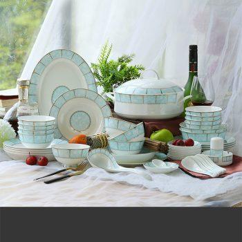 ZPK269-MJ010 景德镇陶瓷 骨瓷餐具套装 中式家用碗碟盘创意套装 58头小时代
