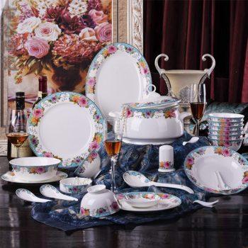 CJ37 景德镇骨瓷餐具套装 56头贵族花苑图纹骨瓷餐具