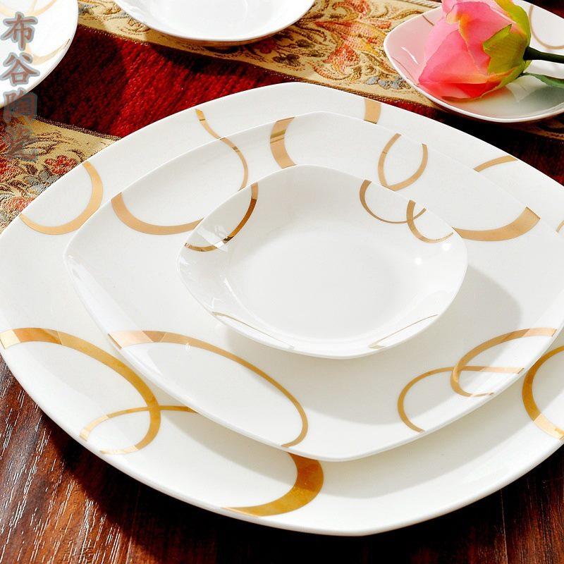 CJ29 景德镇陶瓷 餐具56头高档骨瓷餐具套装盘碗碟批发送礼瓷器厂家
