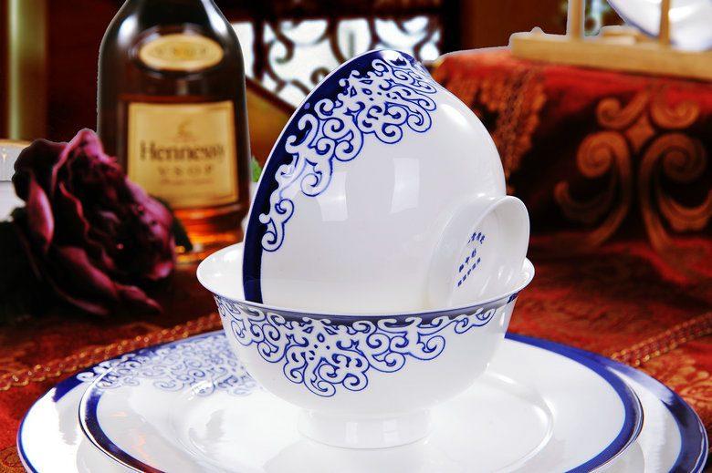 CJ17-B 景德镇陶瓷 餐具56头高档骨瓷套装爱情海高脚碗双耳品锅版礼品批发