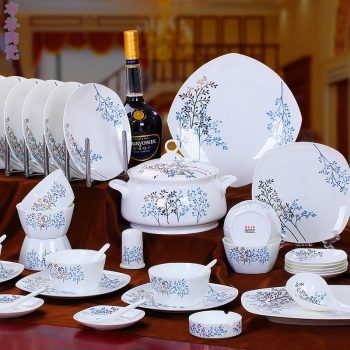 CJ51 景德镇陶瓷 餐具56头高档骨瓷餐具套装盘碗碟厂家直销批发礼品