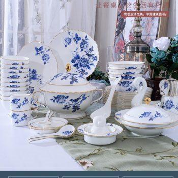 ZPK-256 景德镇陶瓷 餐具套装家用碗碟套装骨瓷碗盘套装60头镶金鸟语花香