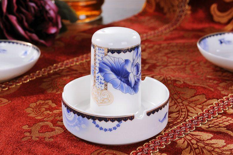 CJ20 景德镇陶瓷 56头高档骨瓷餐具套装双耳品锅高脚碗版 礼品