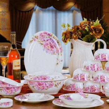 CJ43 景德镇 餐具56头高档骨瓷餐具套装盘碗碟厂家直销批发礼品