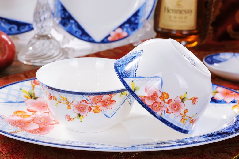 CJ22 景德镇陶瓷 餐具56头高档骨瓷套装彩花礼品礼品瓷酒店瓷批发