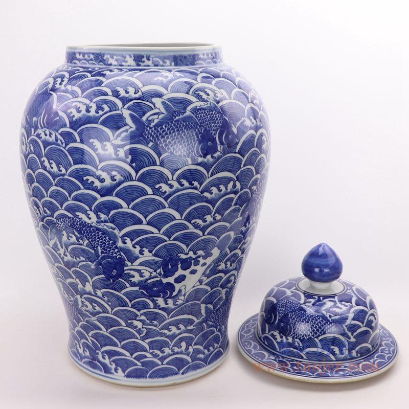 RYLU184 盛江陶瓷 手绘青花海水纹将军罐茶叶盖罐