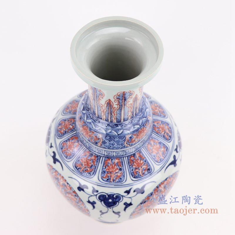 RYVK19 盛江陶瓷 仿古手绘青花釉里红插花花瓶摆件