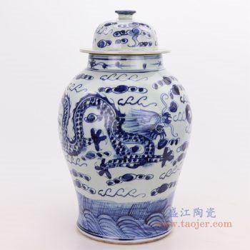 RZFI01 景德镇陶瓷 仿古手绘青花云龙海水纹将军罐