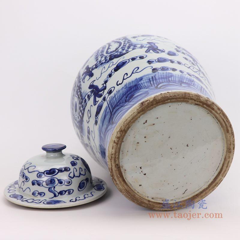RZFI01 盛江陶瓷 仿古手绘青花云龙海水纹将军罐