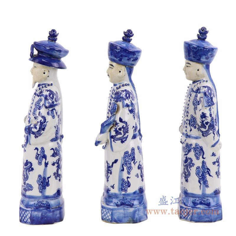 RZKC25 盛江陶瓷 仿古青花龙纹清三代皇帝坐像 老货瓷器 家居摆件古董古玩收藏