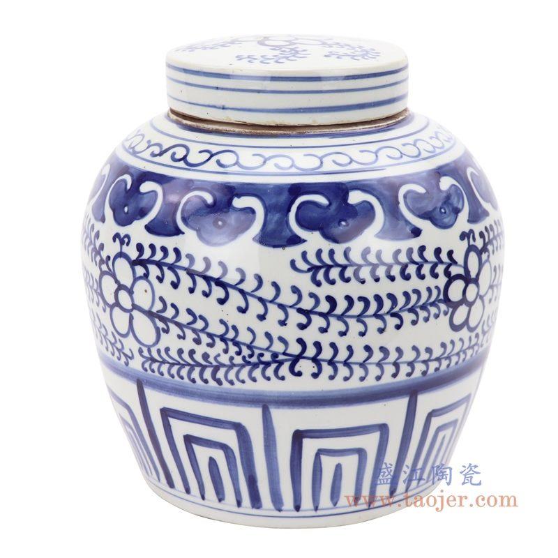 RZKT04-U 盛江陶瓷 仿古做旧青花缠枝莲茶叶罐