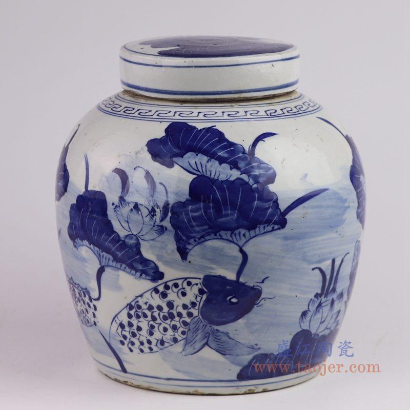 RZKT04-V 盛江陶瓷 仿古做旧青花荷花纹茶叶罐