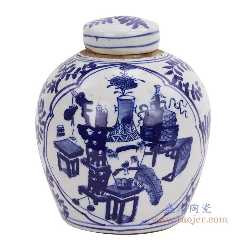 RZKT10-I 盛江陶瓷 晚清青花开窗博古纹茶叶罐 老盖罐 仿古瓷器